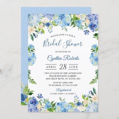 Light Blue Hydrangeas Floral Wreath Bridal Shower Invitation