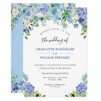 Light Blue Hydrangeas Greenery Watercolor Wedding Invitation