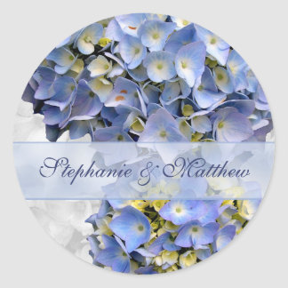"Light Blue Hydrangeas Sticker, ""Alpha"" Classic Round Sticker"