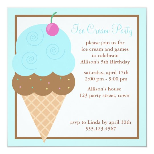 Light Blue Ice Cream Cone Card