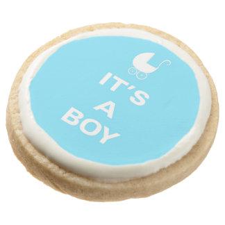 Light blue its a boy round premium shortbread cookie