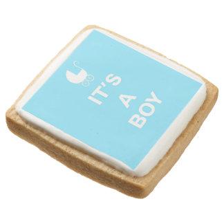 Light blue its a boy square premium shortbread cookie