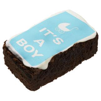 Light blue its a boy rectangular brownie