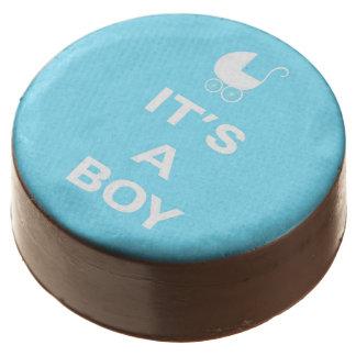 Light blue its a boy chocolate dipped oreo