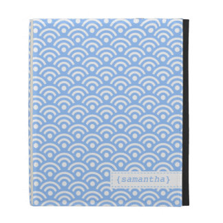 Light Blue Japanese Seigaiha Pattern iPad Folio Cover