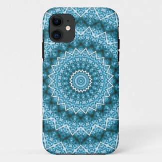 Light Blue Kaleidoscope / Mandala iPhone 11 Case