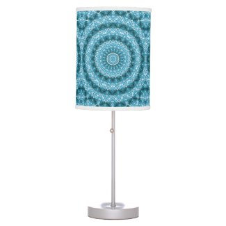 Light Blue Kaleidoscope / Mandala Table Lamp