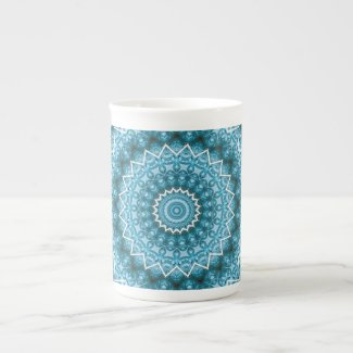 Light Blue Kaleidoscope / Mandala Tea Cup