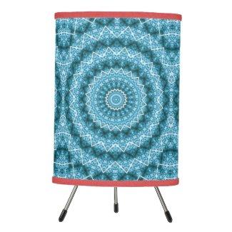 Light Blue Kaleidoscope / Mandala Tripod Lamp