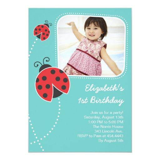 Light Blue Ladybug Birthday Invitations