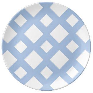 Light Blue Lattice on White Dinner Plate