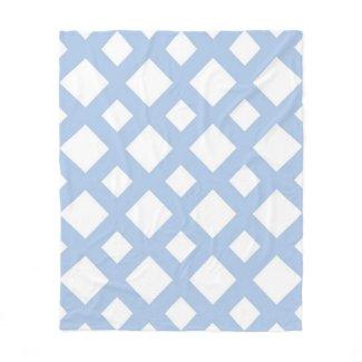 Light Blue Lattice on White Fleece Blanket