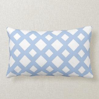 Light Blue Lattice on White Throw Pillow