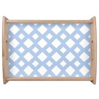 Light Blue Lattice on White Serving Platters