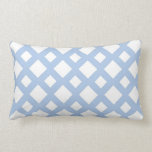 Light Blue Lattice on White Throw Pillow