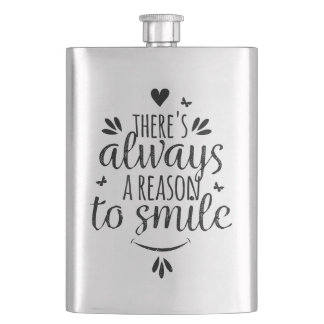Light blue lettering and quote design BLACK Flask