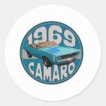 Light Blue Line 1969 Camaro Super Sport Classic Round Sticker