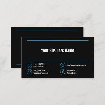 Light Blue Lines Corporate Contact Icons Black Business Card