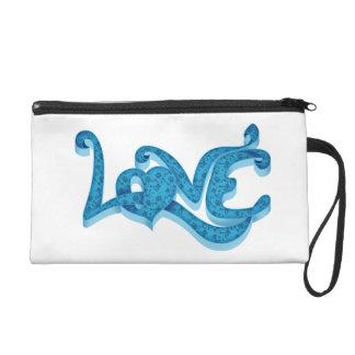 Light blue love wristlet purse