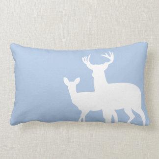 Light Blue Male Female Deer Throw Pillow