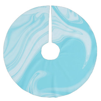 Light Blue Marble Pattern Brushed Polyester Tree Skirt