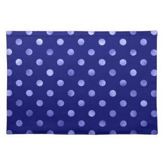 Light Blue Metallic Faux Foil Polka Dot Bright Placemat