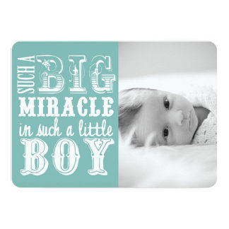Light Blue Miracle Boy | Photo Birth Announcement