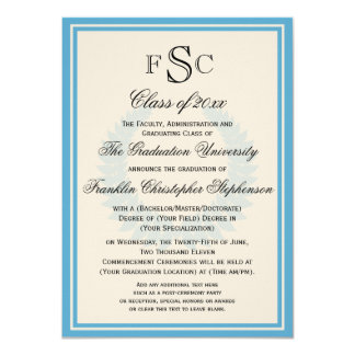 Light Blue Monogram Laurel College Graduation Card