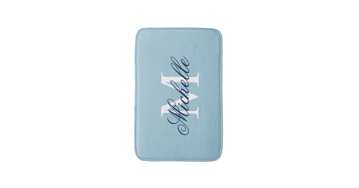 Light blue monogrammed bath mat bathroom decor zazzle for Bathroom decor light blue