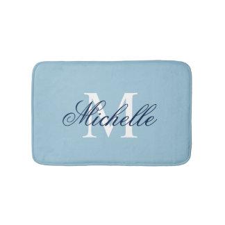 Light blue monogrammed bath mat | bathroom decor bath mats