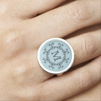 Light blue monogrammed photo ring