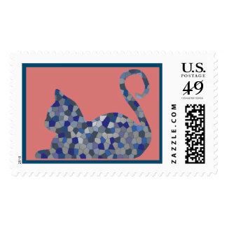 Light Blue Mosaic Custom Cat Postage