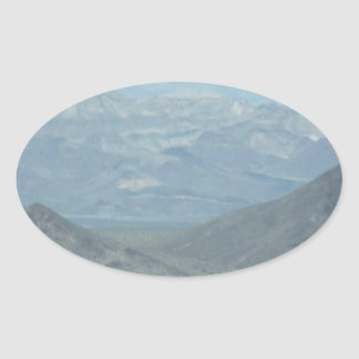 Light Blue Mountains Oval Sticker