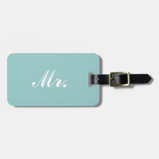 Light Blue Mr and Mrs luggage tag for him
