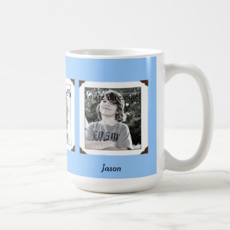 Light Blue Multi-Photo Name & Message Mug for Dad