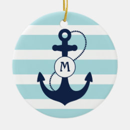 Light Blue Nautical Anchor Monogram Ceramic Ornament