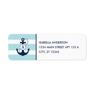 Light Blue Nautical Anchor Monogram Label