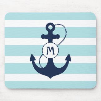 Light Blue Nautical Anchor Monogram Mouse Pad