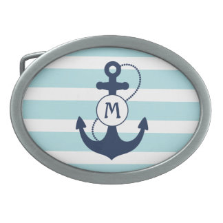 Light Blue Nautical Anchor Monogram Oval Belt Buckle