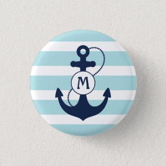 Light Blue Nautical Anchor Monogram Pinback Button