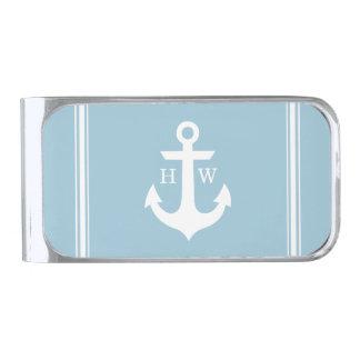 Light Blue Nautical Anchor Monogram Silver Finish Money Clip