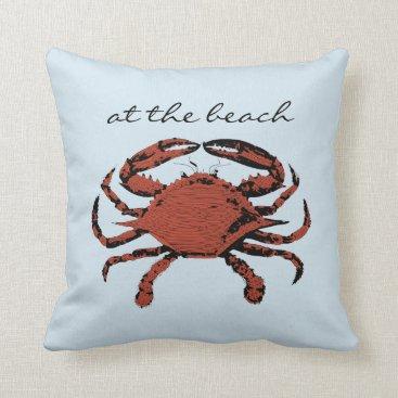 Beach Themed Light Blue Nautical Crab Beach | Home Throw Pillow