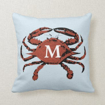 Beach Themed Light Blue Nautical Crab | Unique Monogram Pillows