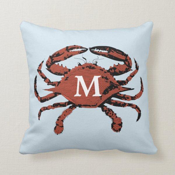 Light Blue Nautical Crab | Unique Monogram Pillows