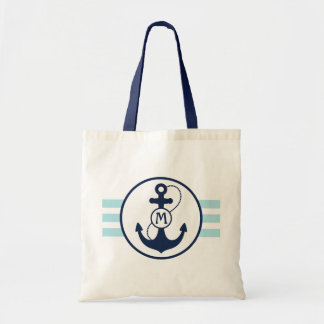 Light Blue Nautical Stripes with Anchor Monogram Tote Bag