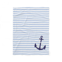 Light Blue Nautical Stripes with Navy Blue Anchor Fleece Blanket