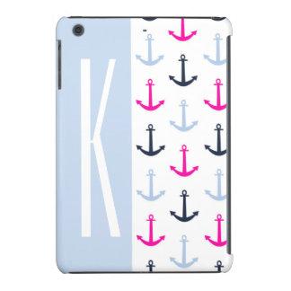 Light Blue, Navy, & Hot Pink Nautical Anchors iPad Mini Retina Cases
