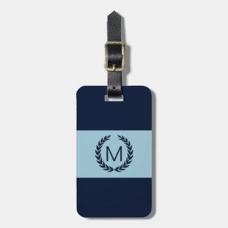 Light blue & Navy Stripe Laurel Wreath Monogram Tags For Luggage