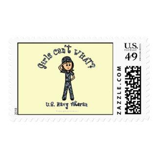 Light Blue Navy Veteran Girl Postage Stamps