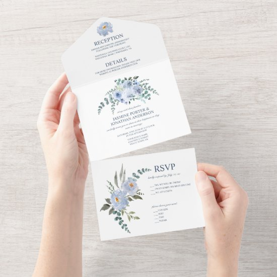 Light Blue & Navy Watercolor Floral   All In One Invitation